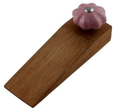 Lavender Crackle Ceramic Melon Wooden Door Stopper