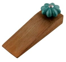 Sea Green Crackle Wooden Door Stopper
