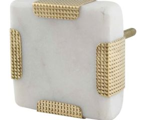 white square Stone Brass Cabinet Knobs