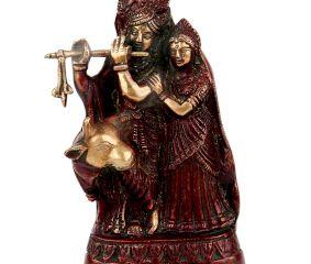 Brass Radha Krishna Statue With Red polish