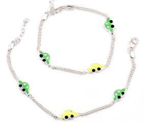 92.5 Sterling Silver Bracelets for kids with Cute Colorful Car Charms  ( In Set of 2)