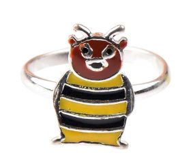 92.5 Sterling Silver Ring With Sweet Bee Charm Kids Jewelry