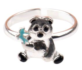 92.5 Sterling Silver Ring Teddy Bear Holding Fish Kids Jewelry