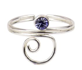 Wired 92.5 Sterling Silver Toe Ring  With Blue American Diamond