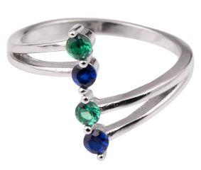 92.5 Sterling Silver Toe Ring Tanzanite and Peridot Stone Women Jewelry