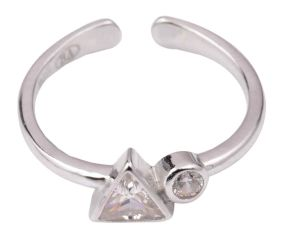 92.5 Sterling Silver Toe Ring With Triangle And round American Diamond Studded jewelry (Pair)