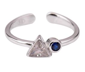 Adjustable 92.5 Sterling Silver Toe Ring With American Diamond and Tanzanite Stones