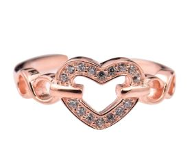 92.5 Sterling Silver Toe Ring Studded American Diamond Chained Heart With Rose Gold Finish