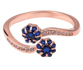 Tanzanite Floral 92.5 Sterling Silver Open able Toe Ring Studded American Diamonds Rose Gold Polish (Pair)