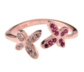 Sparkling 92.5 Sterling Silver Open able Toe Ring  American Diamond Pink Tourmaline Flowers
