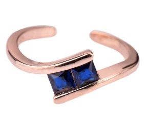 92.5 Sterling Silver Toe Ring Square Tanzanite Studded Twisted Design Women Jewelry With Rose Gold Finish