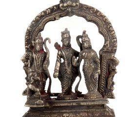 Brass Ram Darbar Statue With  Hanumanji And Prabhavali