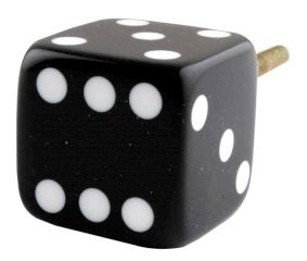 Black Six Sided Dice Resin Cabinet Knobs