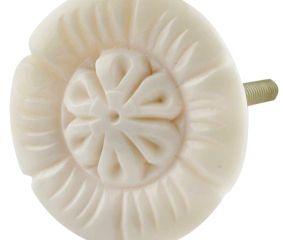 Cream Sunflower Bone Cabinet Knob