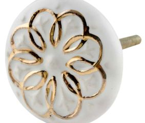 White Gold Floral Ceramic Dresser Knobs