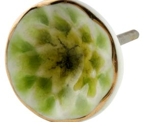 Lime Green Cut Ceramic Dresser Knob in Silver Fitting