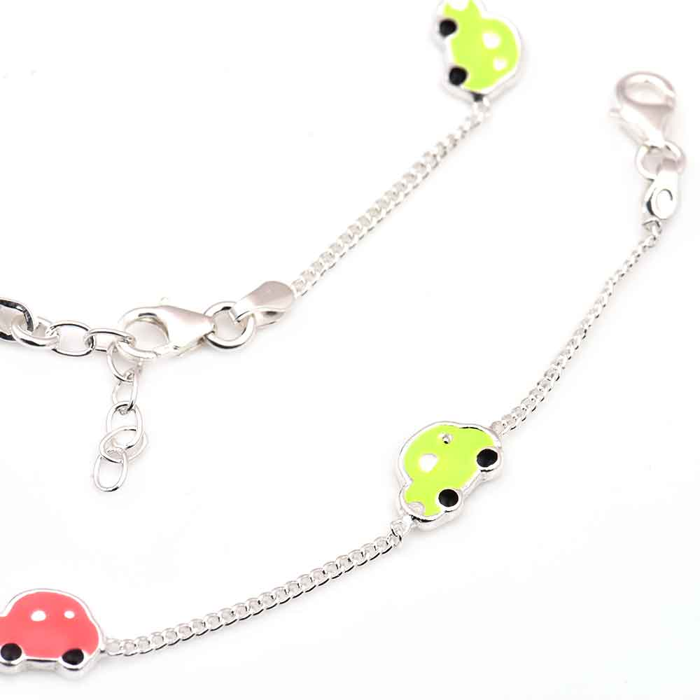 Colorful Car Charms 92.5 Sterling Silver Bracelets  for Kids ( In Set of 2)