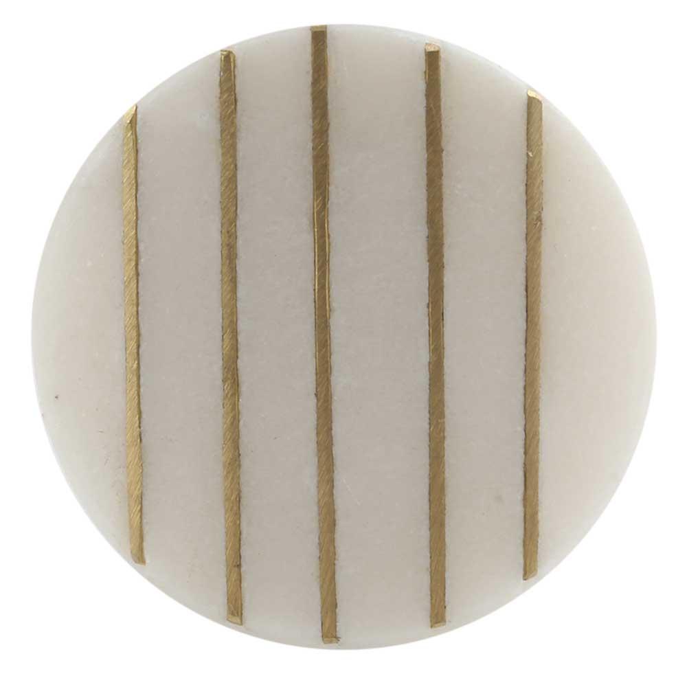 Round Oval White Stone Golden Line Cabinet Knobs