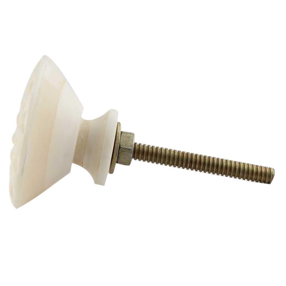 Cream Wheel Floral Bone Dresser Knobs