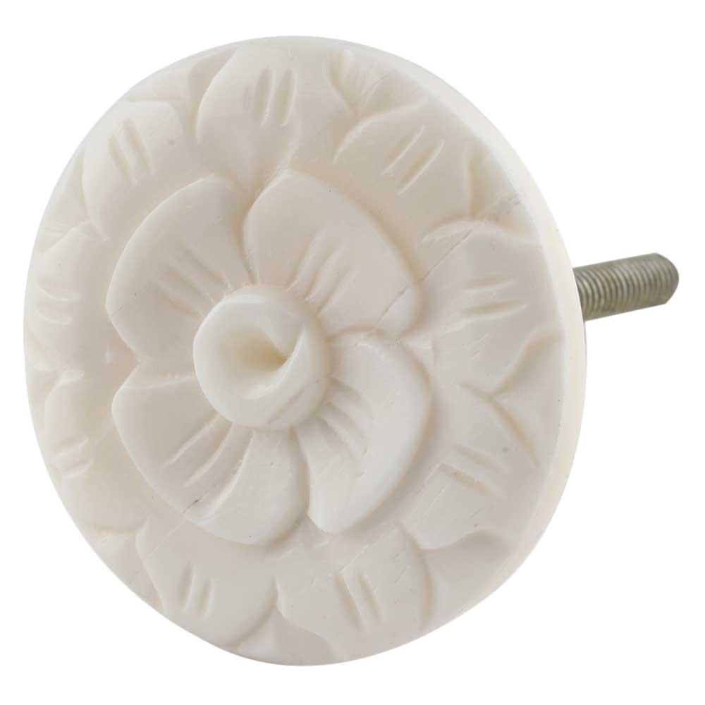 Cream Wild Rose Flower Bone Cabinet Knobs