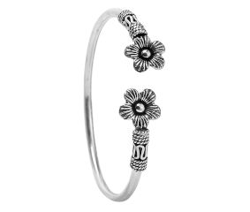 92.5 Sterling Silver Antique Handmade Boho Female Kada bangle