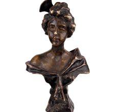 Brass European Lady Bust Statue