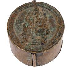 Round Brass Storage Box With Ganesha On Top