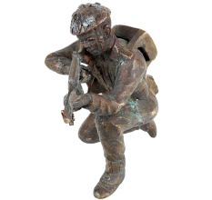 Hand made Brass Solider Statue With A Gun For Home Decoration