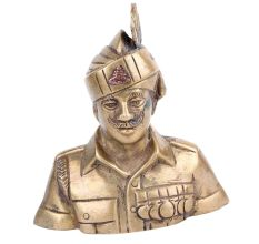 Brass Indian Military Officer Bust Statue