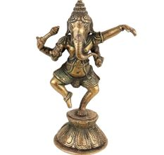 Brass Dancing Ganesha Statue On One Foot
