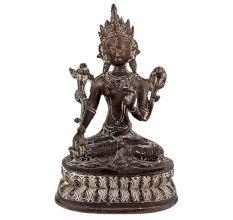 Brass Buddha Statue Sitting In Meditation