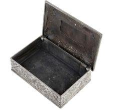 Storage Box Floral Engraved In White Metal