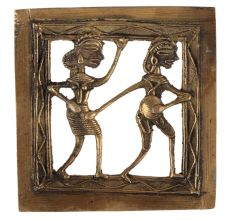 Brass Dhokra Wall Art Hanging Musician Couple