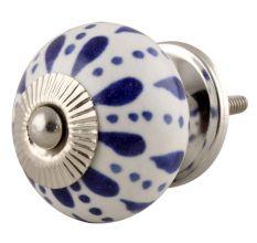 White & Blue Ceramic Floral Knob