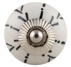White Ceramic Designer Floral Knob