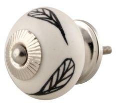 White Ceramic Floral Dresser Knob