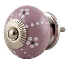 Purple Ceramic Floral Cabinet Knob With Flower