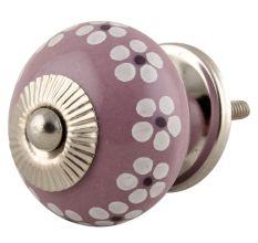 Purple Ceramic Floral Round Cabinet Knob