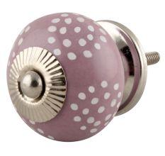 Purple Ceramic Floral Doted Dresser Knob