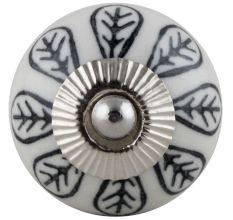 Black & White Ceramic Leaves Floral Knob