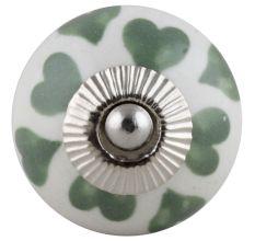 Green & White Ceramic Floral Knob