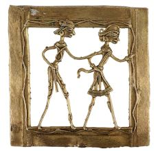 Brass Wall Art Tribal Couple Daily Chores Activity In Square Border