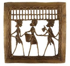 Brass Dhokra Art Hanging Two Farmer With Tribal Lady With Basket