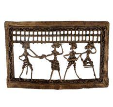 Brass Dhokra Art Hanging Rectangular Border Tribal Dancing Troupe
