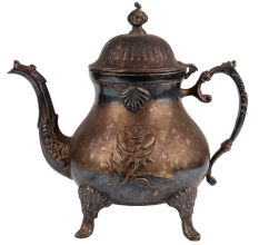 Brass Victorian Style Tea Pot Kettle Rose Flower Design