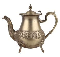 Brass Floral Border Tea Pot Kettle With Decorative Spout