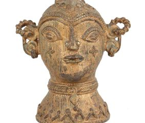 Brass Tribal Goddess Head Statue Showpiece