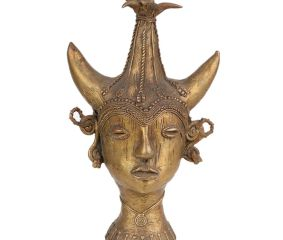 Brass Tribal Maharani head Statue with Traditional Crown