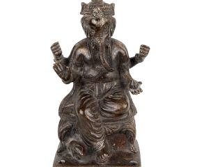 Brass Sitting Lord Ganesha Statue Idol In Dark Finish