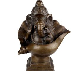 Brass Ganesha Statue  Seated On A Conch